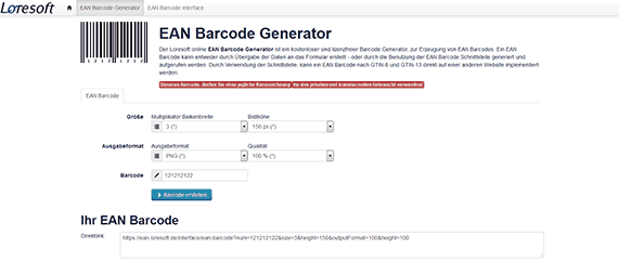 Free online EAN Generator, European Article Number