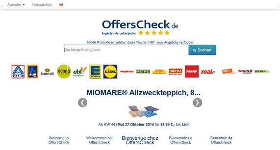 OffersCheck Angebotesuchmaschine in Deutschland, Österreich, England und Frankreich